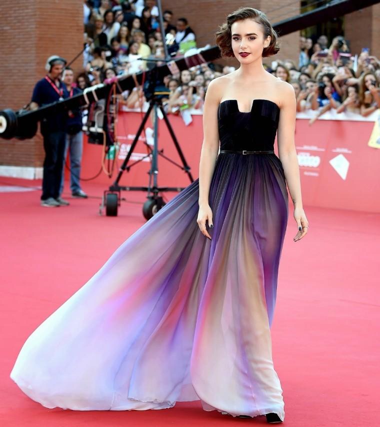 Enviar-rápidamente-2015-Lily-Collins-Vestidos-Elie-Saab-nueva-palabra-de-honor-Ombre-gasa-vestido-de