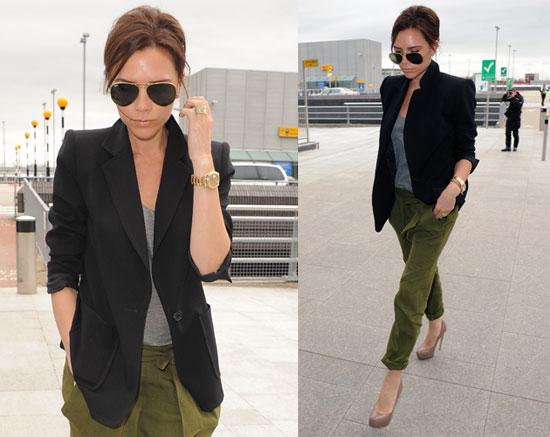 Victoria-Beckham-Wearing-Silk-Cargos-Black-Blazer-Ray-Ban-Aviator-Sunglasses