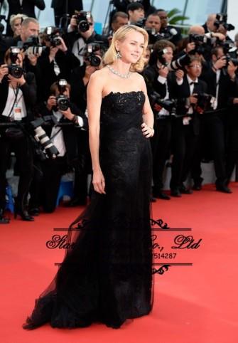 2016-Festival-de-cine-de-Cannes-Naomi-Watts-negro-encaje-vestido-de-noche-vestidos-de-la
